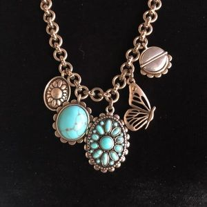 Lucky Brand Turquoise BeadedButterfly Necklace